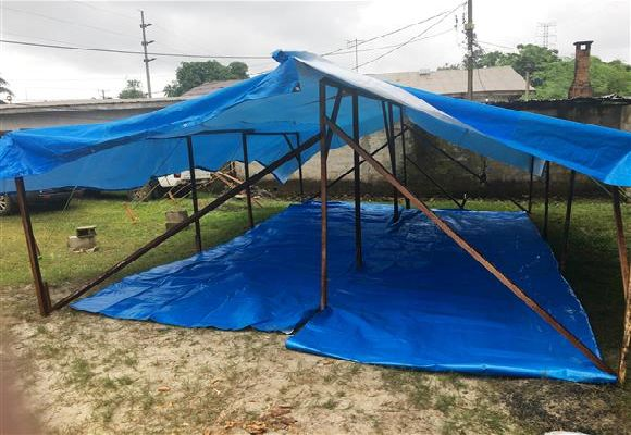 The completed overflow tent