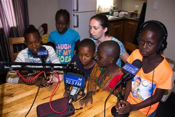 Joanne and the children on air