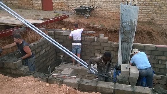 Walls being built