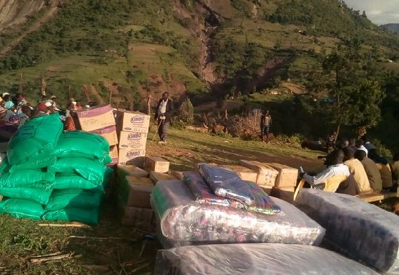 Supplies at the site of Landslide