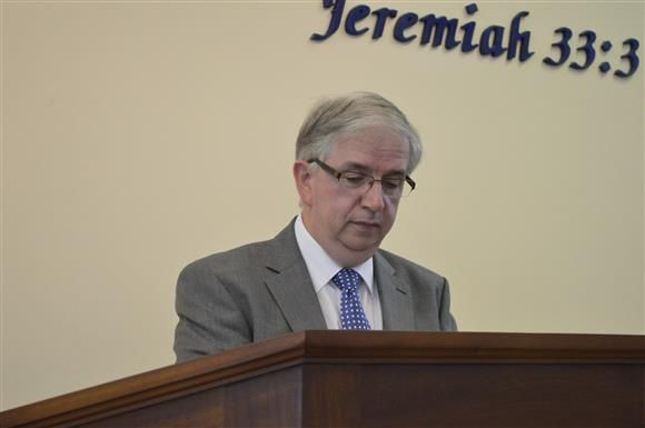Rev Ian Harris - Chairman of the Mission Board, speaks at the service