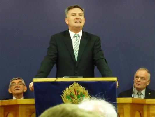 Rev Lyle Boyd speaking at the special service